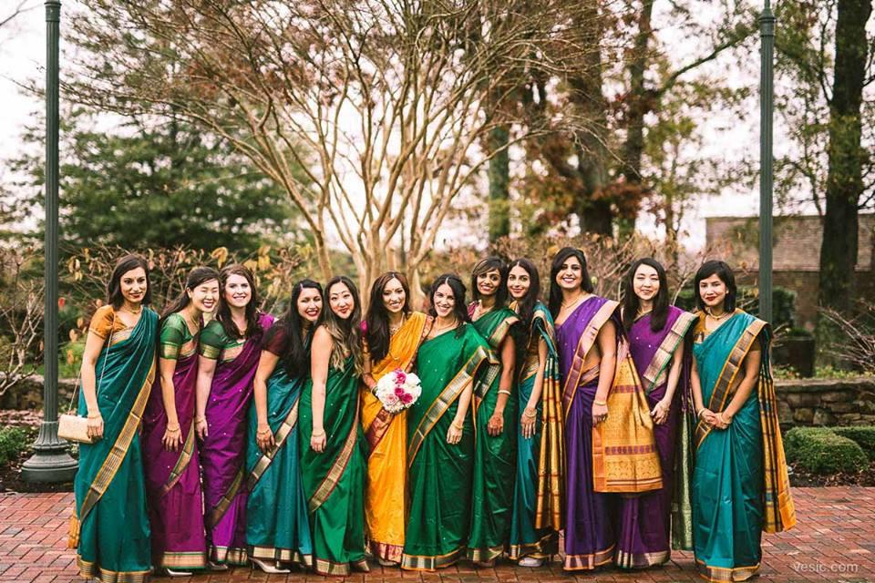 Indian Bridesmaids with Saris