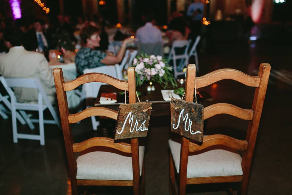 Mr and Mrs Wooden Chair Markers Greensboro Wedding Planner