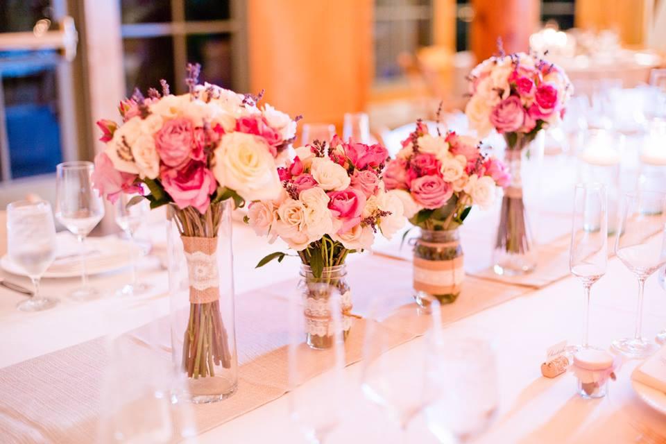 Bridemaids Bouquets as Centerpieces