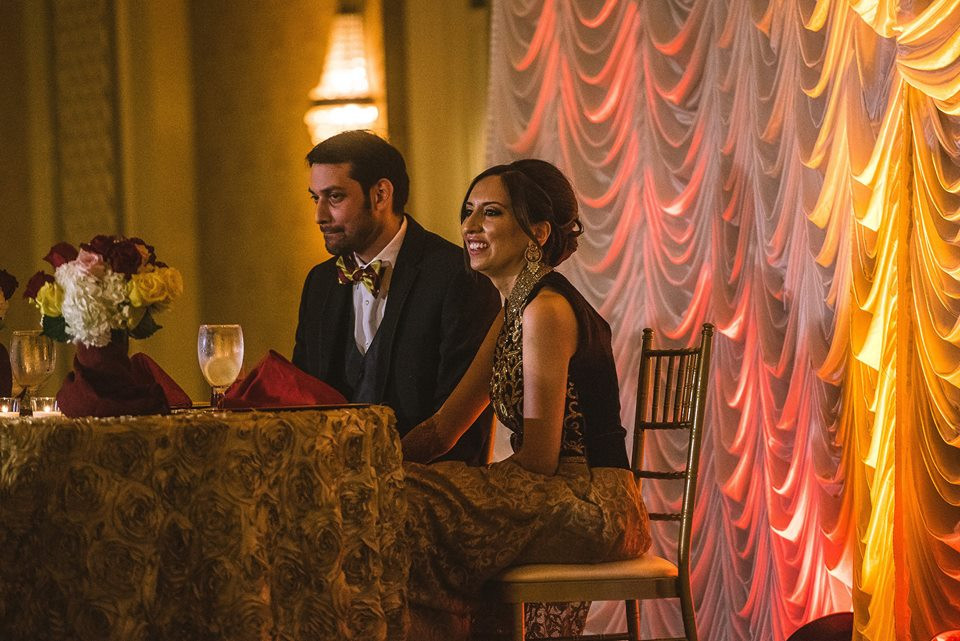 Sweetheart Table with Uplighting and Drapery
