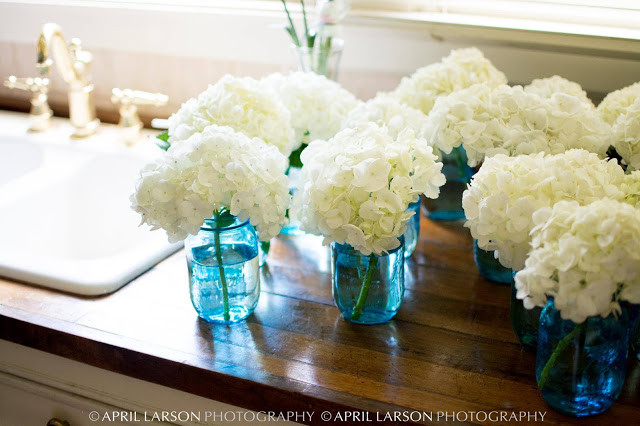 Hydrangeas in Blue Mason Jars from Sedgefield Florist