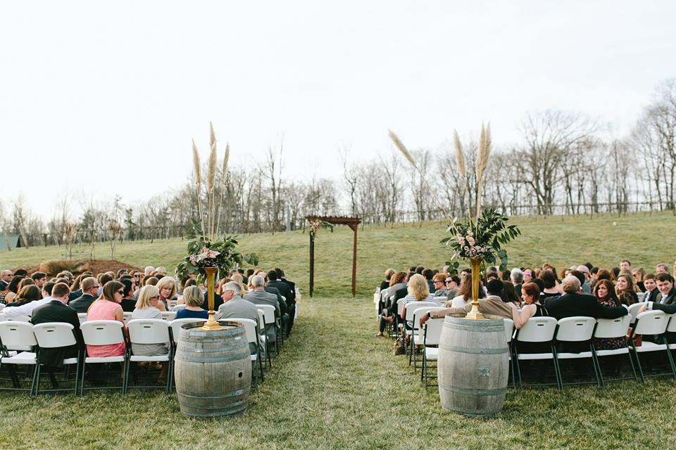 Wine Barrel Aisle Markers Greensboro Wedding Planner
