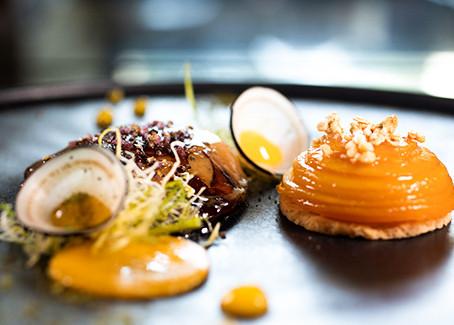 Tatin de mangue et escalopes de foie gras de canard poêlé