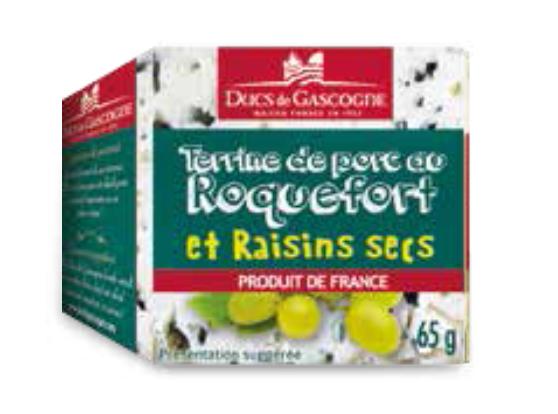 Terrine de porc au Roquefort et raisins secs Ducs de Gascogne 4 x 65g