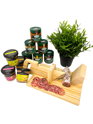 Appetizer set with Guillotine, Dry Sausage, Spreads and Terrines