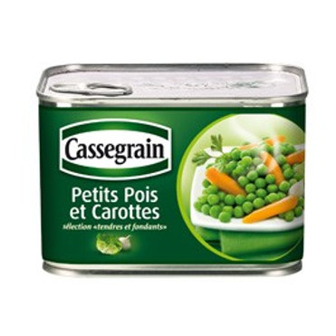 Petits Pois Carottes / French Green Peas & Carrots 2 UNITS X 375g - CASSERGRAIN