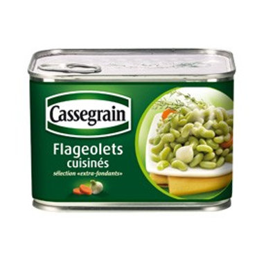 Flageolets cuisinés / Cooked French Beans 2 UNITS x 375g - CASSEGRAIN