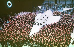 Employment is the Space Commercialization sector is significant; the Virgin Galactic team poses with spaceship