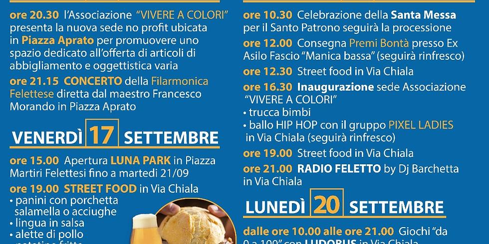 VENERDÌ 17 SETTEMBRE 2021 FELETTO (TO) FESTA PATRONALE - STREET FOOD E MUSICA CON RADIO GRAN PARADISO FM 96.7