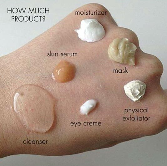 How much facial product to use