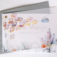 Geboortekaart zee met kalkpapier