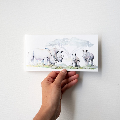 Geboortekaartje neushoorn familie