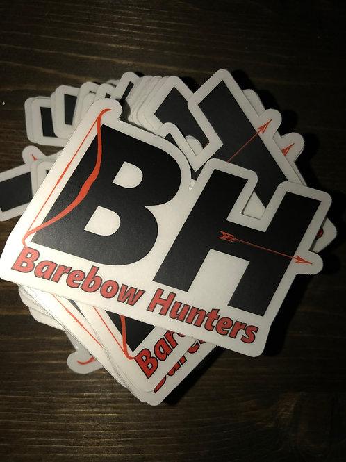 2 x 3 inch Die Cut Barebow Hunters Sticker on Transparent Vinyl