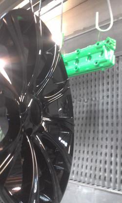 Powder coating - Mint green & wet black oxytec colours - race car