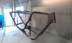 Powder coating - Oxytec Jet black gloss - Bobber chopper frame
