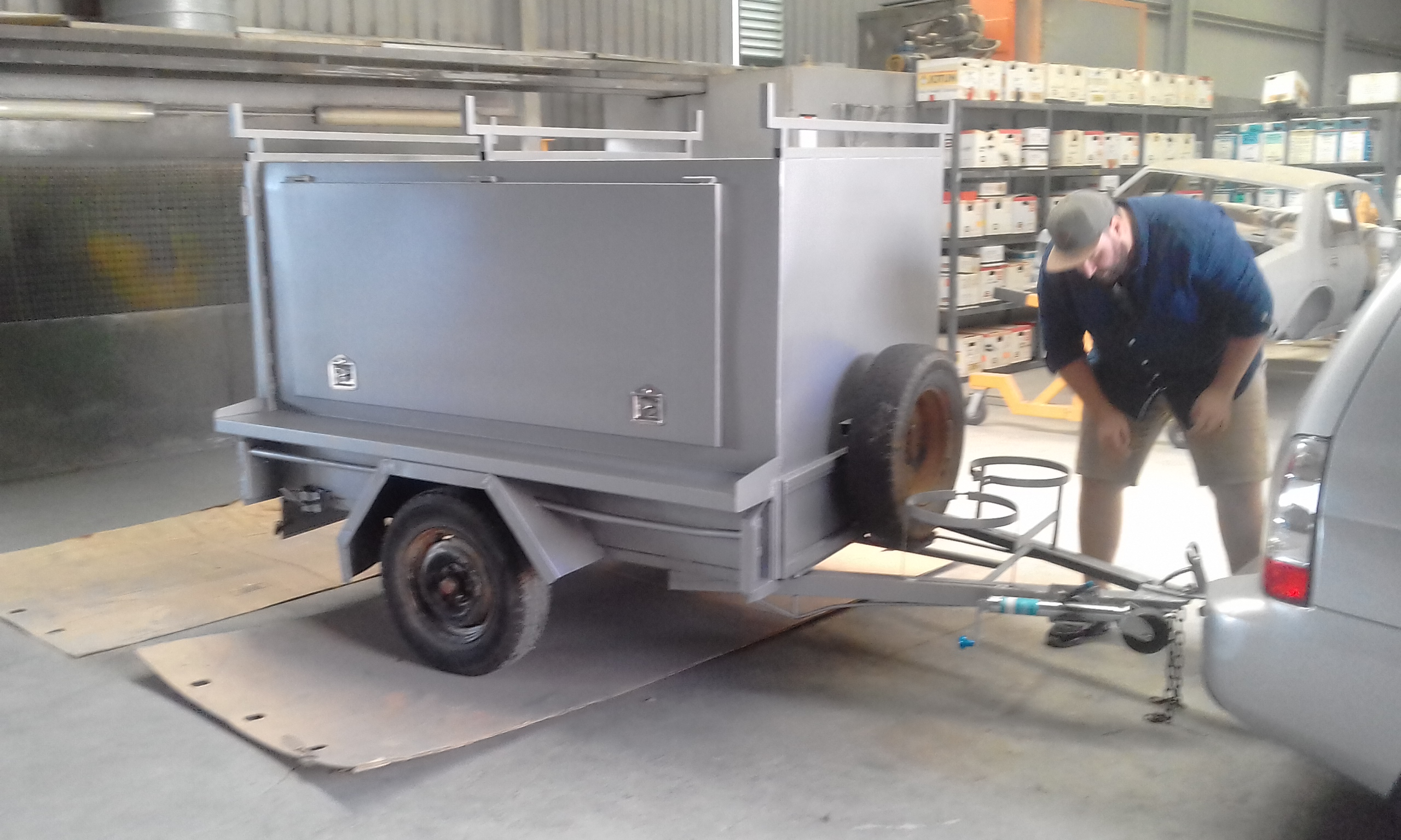 Wet painting a trailer for TVHC (2)