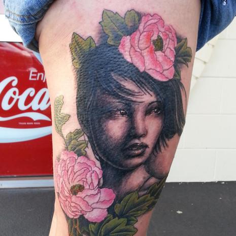 Peony girl tattoo