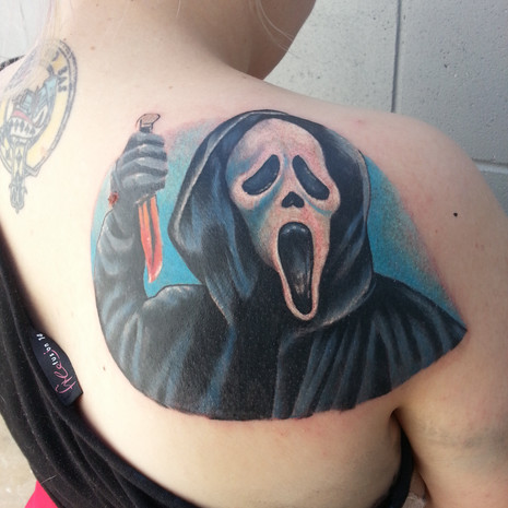 Ghost face tattoo