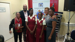 With Students and Teacher from Brimmervale High School at the launch of Science Genius in Jamaica