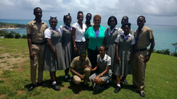 With the Principal and Students of Happy Grove High School in Portland, Jamaica