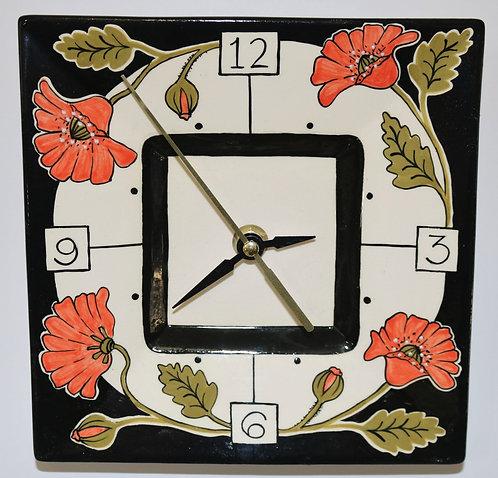 CERAMIC CLOCK Poppies