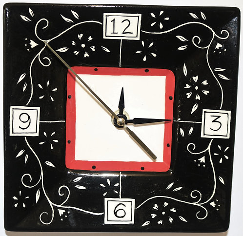 CERAMIC CLOCK Black Sgraffito