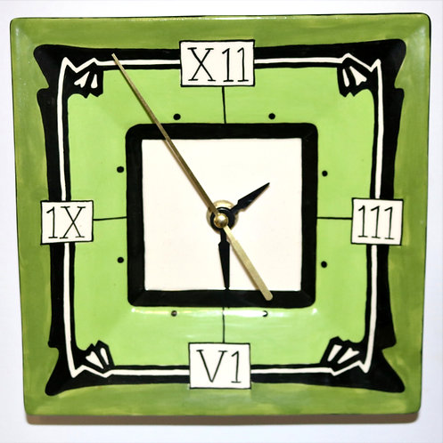 CERAMIC CLOCK Art Deco Greens