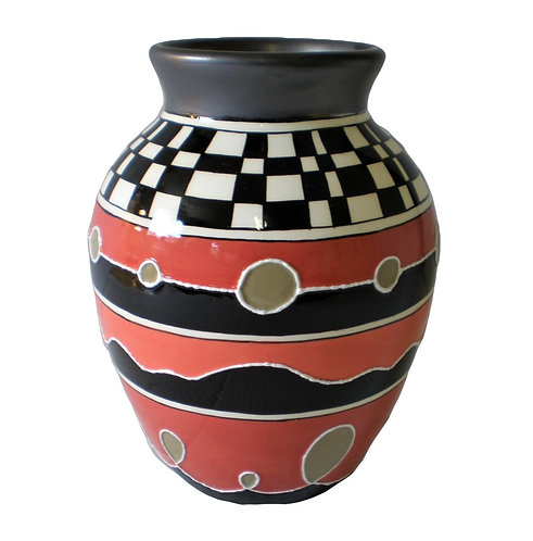 RED & CHEQUERED MELBA VASE