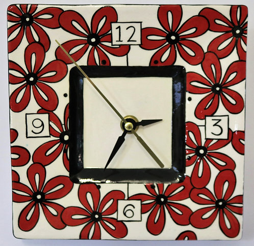 CERAMIC CLOCK Red Daisies