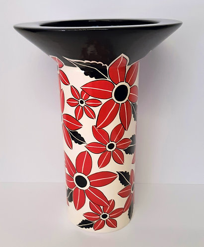 RED B&W TALL VASE