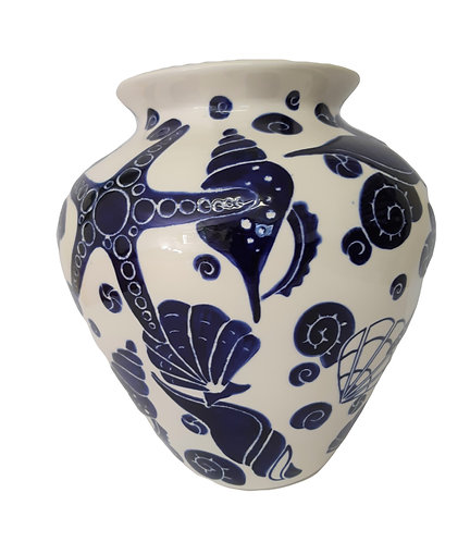 LARGE NAVY SHELL VASE