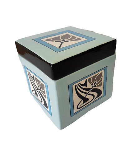 BLUE & GREY ART DECO SQUARE BOX