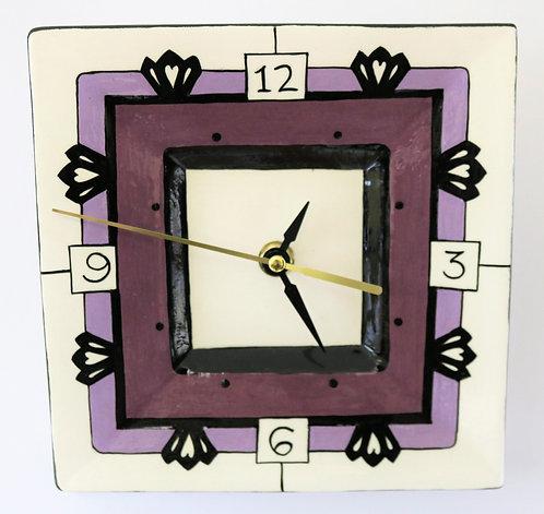 CERAMIC CLOCK Art Deco Purples