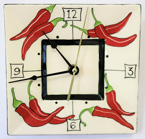 CERAMIC CLOCK Chillies