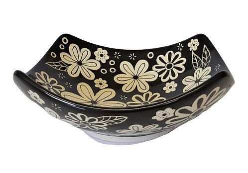 B&W FLOWERS JAPANESE BOWL