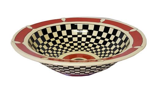 LARGE ROUND RED, BLACK & WHITE BOWL