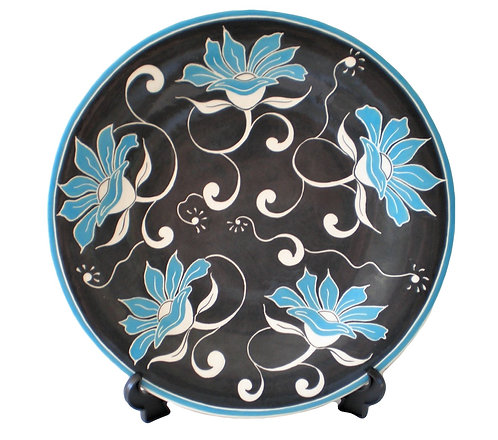 BLUE FLOWERS LARGE ROUND PLATTER
