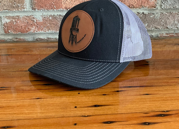 Leather Patch logo hat Black