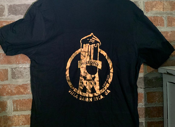 Black/Bronze Vneck Tee