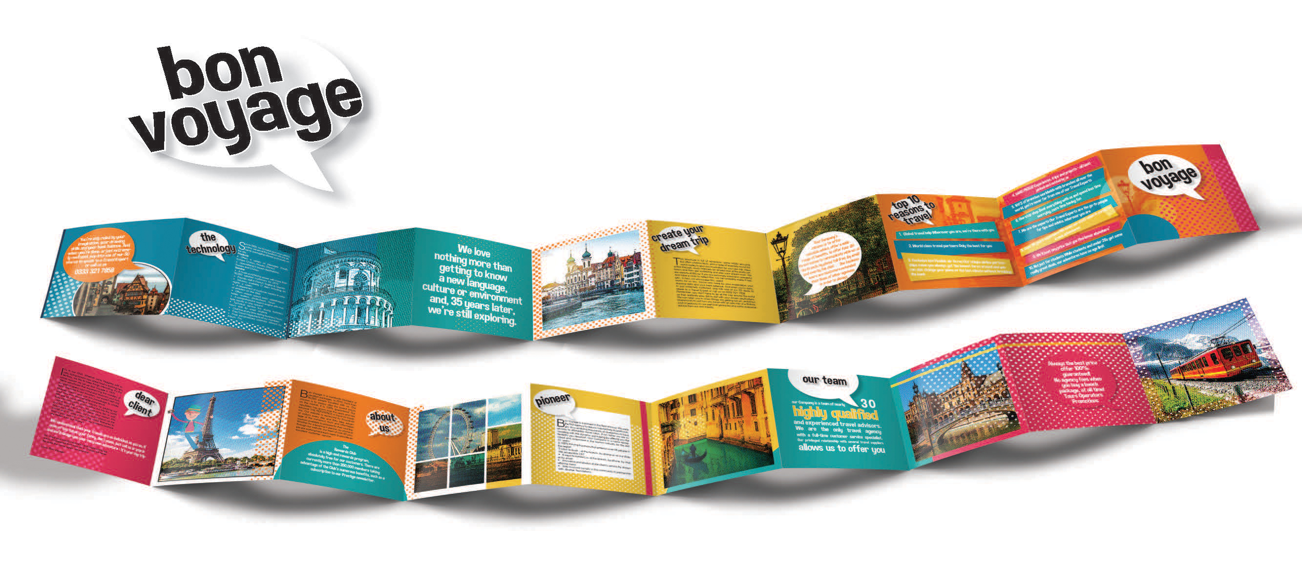 travel brochure and logo