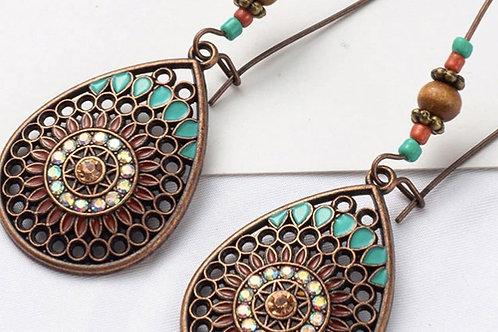 Vintage Style Boho India Water Drop Earrings