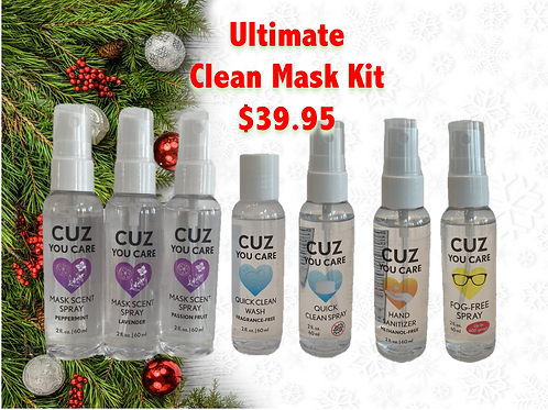 Ultimate Clean Mask Kit with Fog Free Eyeglass Spray