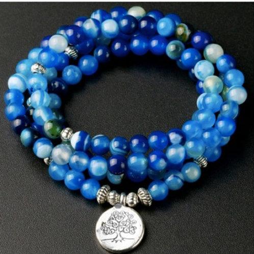 Blue line Onyx 108 Mala Bracelet Meditation