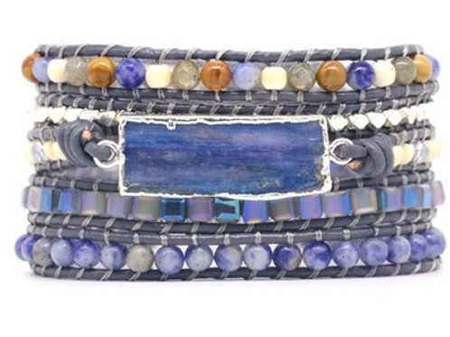 Boho Wrap Bracelet in Beautiful Blues