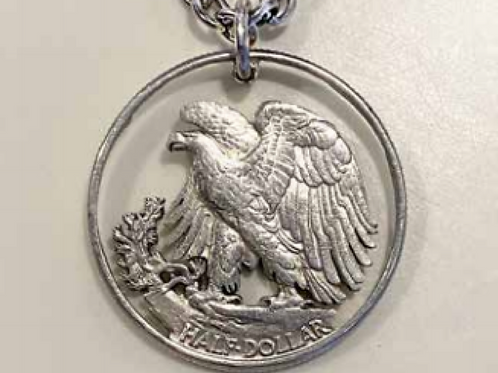 Hand crafted genuine half dollar Eagle pendant
