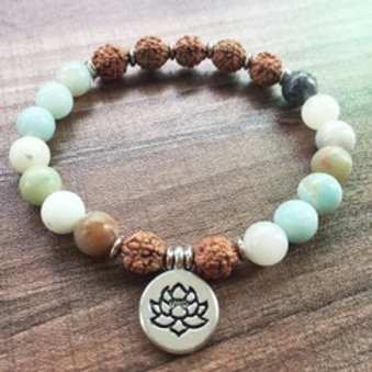 Amazonite & Bohdi Seed Bracelet