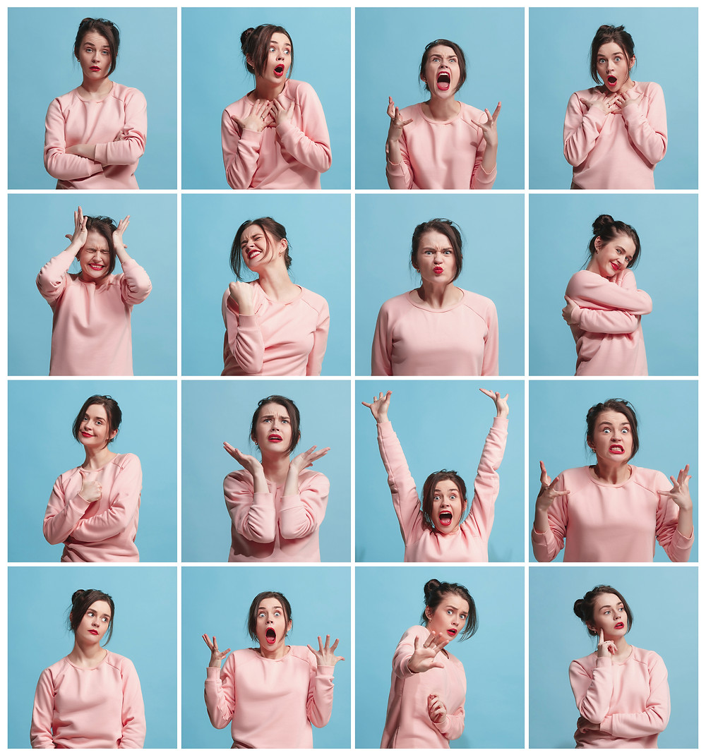 woman wearing a long-sleeve pink shirt expressing many emotions in a series of pictures in a square