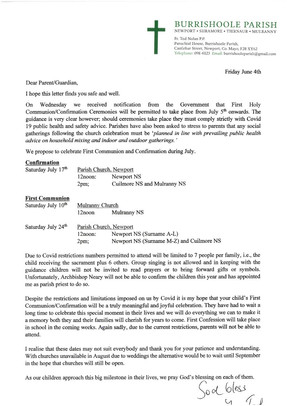 Letter from Fr. Tod re Sacraments