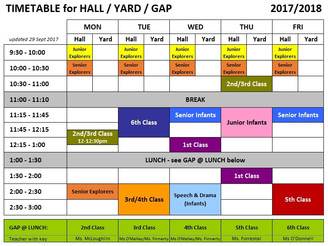 PE Timetable UPDATED