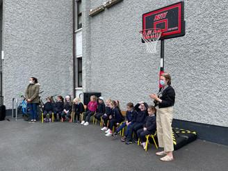 The children say farewell to Brid McAuley
